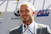 David Beckham at the press conference to introduce David Beckham as the newest member of the Los Ang