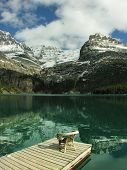 Chair On A Wooden Pier, Lake O'hara, Yoho National Park, Canada