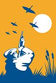 pic of duck-hunting  - vector illustration of a Hunter aiming a rifle at flying wild ducks - JPG
