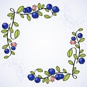 Elegant frame with blueberries.