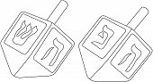 foto of dreidel  - Vector illustration coloring page of dreidels for the Jewish holiday Hanukkah - JPG