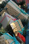Gaily wrapped holiday packages