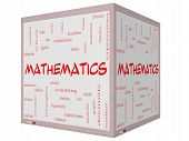 stock photo of fraction  - Mathematics Word Cloud Concept on a 3D cube Whiteboard with great terms such as fractions algebra calculus and more - JPG