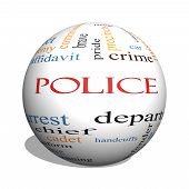 Police 3D Sphere Word Cloud Concept