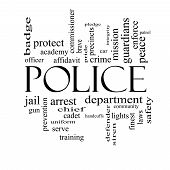 Police Word Cloud Concept In Black And White