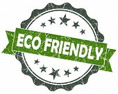 Eco Friendly Green Grunge Vintage Seal Isolated On White