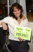 Alexandra Paul onsite signing people up for Voter Registration, where she is every Wednesday night. Stan's Doughnuts, Westwood, CA. 04-11-07