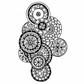 image of mehndi  - Henna Paisley Mehndi Doodles Abstract Floral Vector Illustration Design Element - JPG