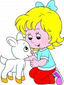 stock photo of caress  - Little girl caresses a small white goatling - JPG