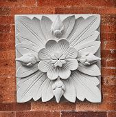 Stone Lotus Flower Decoration On The Wall Of The Temple On Bali Island