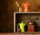 set of different kitchen utensils for coffee (old fashioned style)