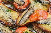 Bread With Sprats, Tomato And Cheese. Delicacy Gourmet Food Backgrounds