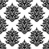Ornate seamless pattern with  foliate arabesque motifs