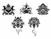 stock photo of adornment  - Ornate indian and persian floral design set with five different motifs in black and white - JPG