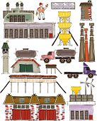 Industrial set, Factory buildings, cars, working units, Happy world collection