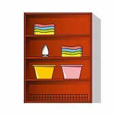 Vector Linen Cupboard, Wardrobe With Clothes