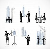 Set of the business people with buildings