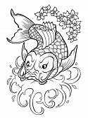 picture of koi tattoo  - Traditional japan fish Koi carp in water flow - JPG