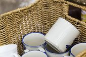 Coffee Mugs In A Basket