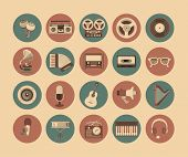 stock photo of radiogram  - flat twenty different musical instrument icons and symbols of music and sound - JPG