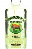 Zubrowka vodka isolated on white background