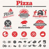 Pizza icons, labels, symbols & vector elements collection