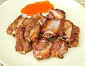Fried Spareribs And Chili Sauce With Garlic Pepper