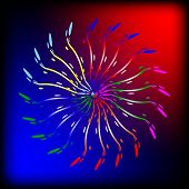 Abstract  Brightly  Glowing Lines On The Red And Blue Background.