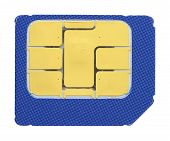 image of micro-sim  - Macro shot of a SIM card against white background - JPG
