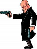 Cartoon bald gun man pointing his gun.