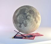 Moon And American Flag.