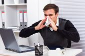 Businessman having flu