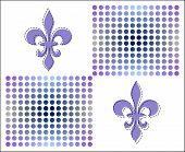 Fleur De Lis Dots Pattern - Blue, Grey And Violet