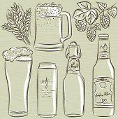 Set Of Beer Bottle, Vector