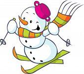 Cheerful Snowman On Skis