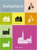 Landmarks of Switzerland. Set of color icons in Metro style. Raster illustration.