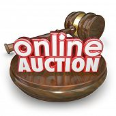 Online Auction 3d words wood block gavel closing bidding internet online website marketplace