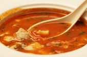 stock photo of veal meat  - Delicious veal stew soup with meat and vegetables - JPG