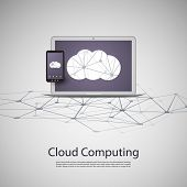 Cloud Computing and Networks Concept with Laptop Computer and Smartphone. Eps 10 Stock Vector Illust