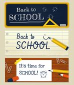 Back To School. Vector Set Of Horizontal Banners.