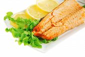 foto of butter-lettuce  - salmon steak and butter with green salad - JPG