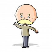 cartoon bald man with idea