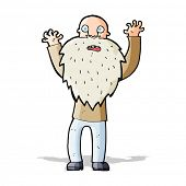 cartoon frightened old man with beard