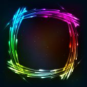 Rainbow colors shining neon lights frame