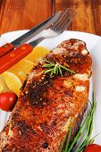 picture of sunfish  - savory on wood - JPG