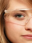 Laboratory. Face Of Chemist Woman In Goggles Glasses