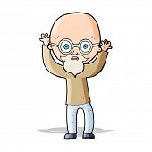 cartoon stressed bald man