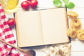 picture of ingredient  - the blank recipe book and fresh ingredients - JPG