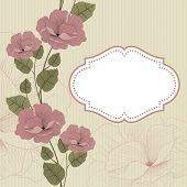 Floral background in retro with frame.