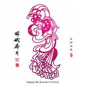 Vector Paper Cutting of Chang'e, The Chinese Goddess of Moon. Translation, Main: Chang'e Galloped To